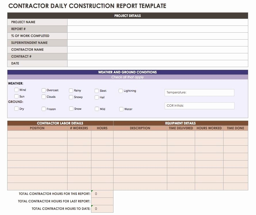 Construction Daily Log Template Luxury Construction Daily Reports Templates or software Smartsheet