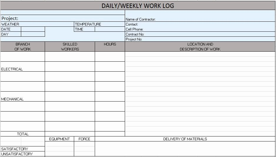 Construction Daily Log Template Unique Free Construction Project Management Templates In Excel
