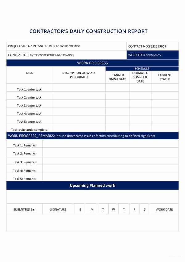 Construction Daily Report Template Awesome 18 Construction Report Templates Pdf Word Docs