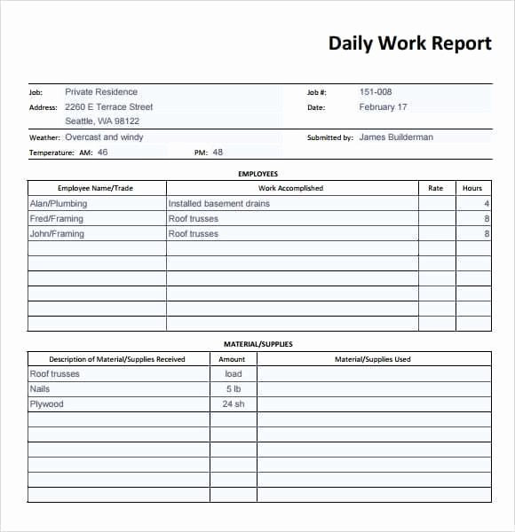 Construction Daily Report Template Excel Best Of 10 Daily Report Templates Word Excel Pdf formats