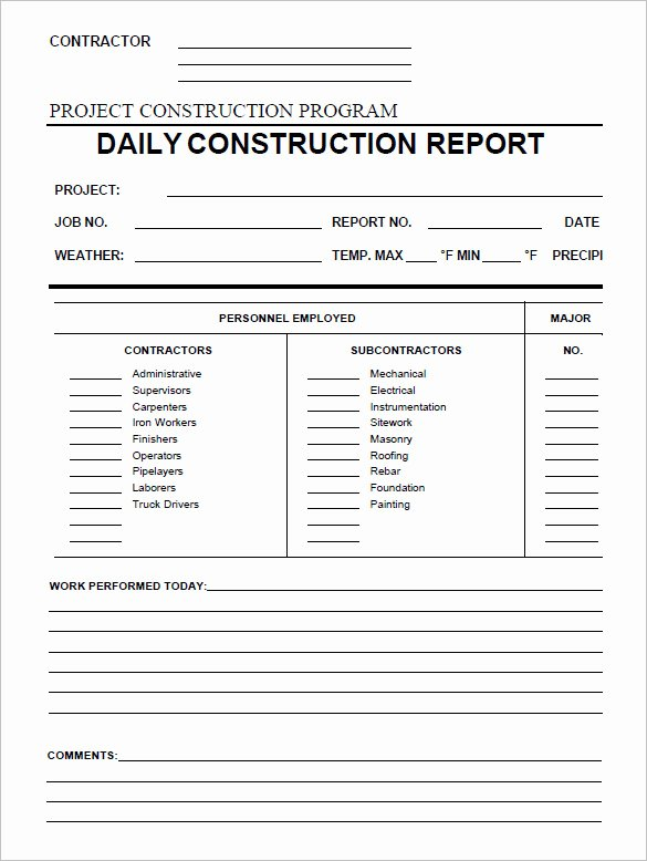 Construction Daily Report Template Excel Elegant 24 Daily Construction Report Templates Pdf Google Docs