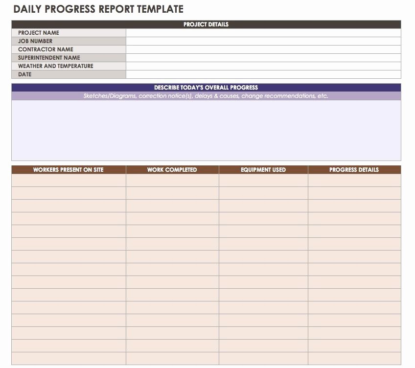 Construction Daily Report Template Excel Fresh Construction Daily Reports Templates or software Smartsheet