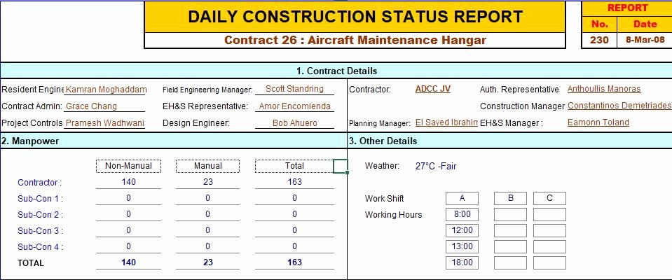 Construction Daily Report Template Excel Unique Construction Daily Report Template Excel