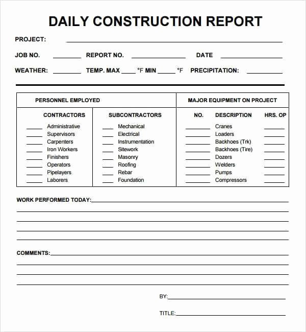 Construction Daily Report Template Lovely 10 Daily Report Templates Word Excel Pdf formats