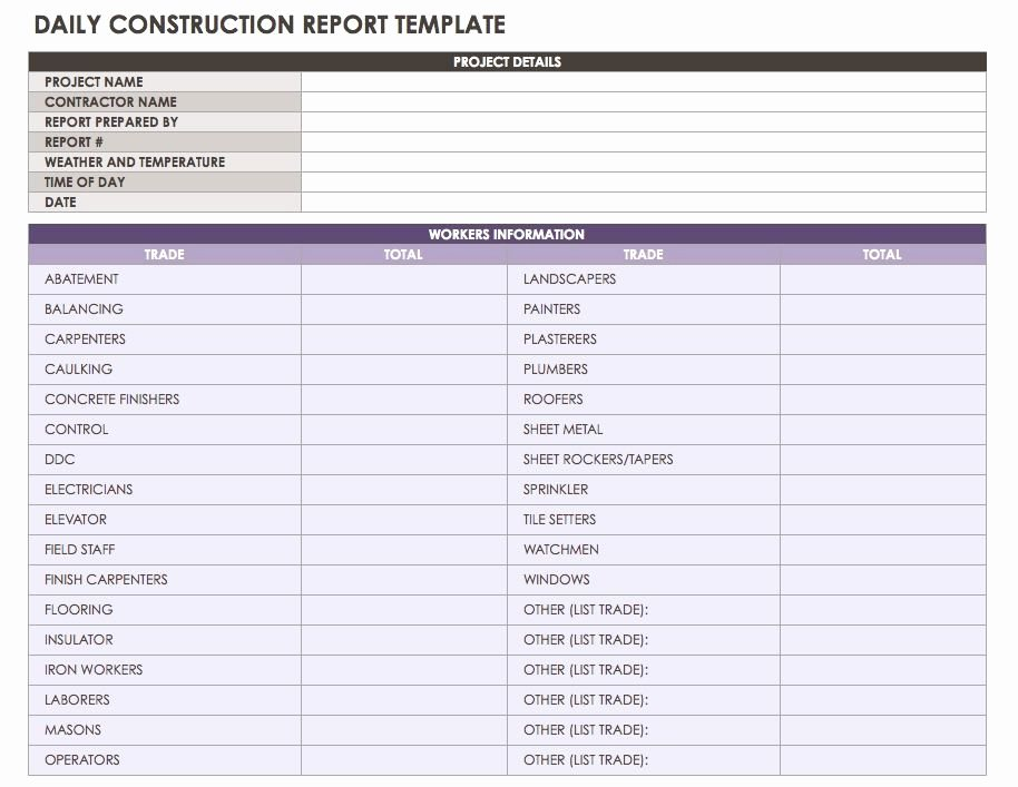 Construction Daily Report Template New Construction Daily Reports Templates or software Smartsheet