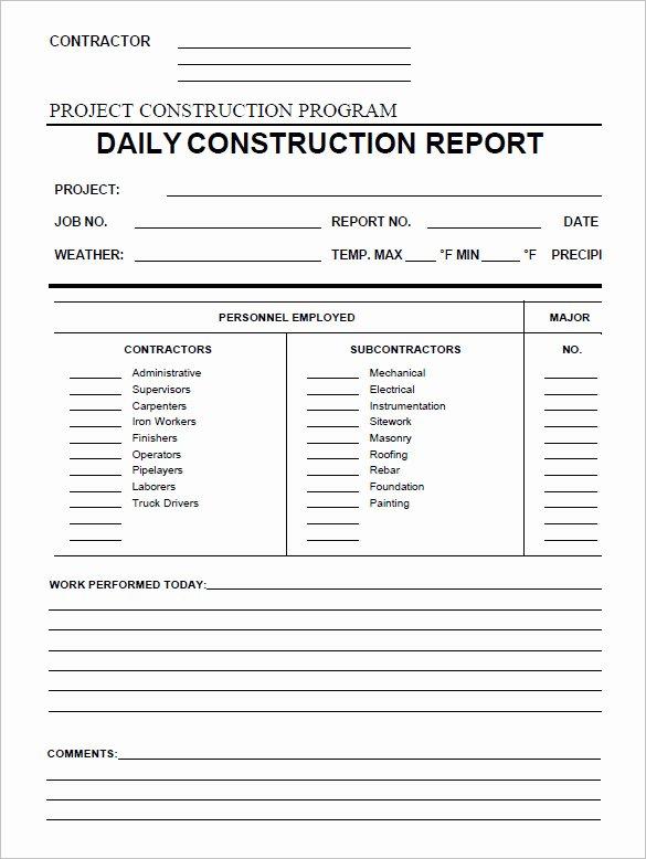 Construction Daily Report Template Unique 24 Daily Construction Report Templates Pdf Google Docs