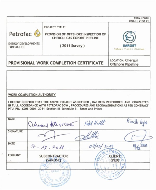 Construction Job Completion Sign Off form Luxury Construction Work Pletion Certificate Sample Letter