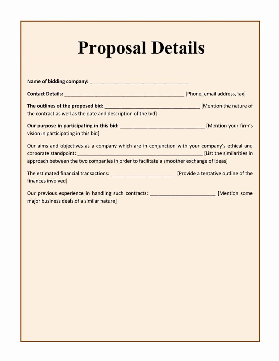 Construction Job Proposal Template Awesome 31 Construction Proposal Template & Construction Bid forms