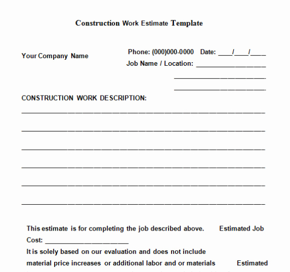 Construction Job Proposal Template Elegant the top 6 Free Construction Estimate Templates Capterra Blog