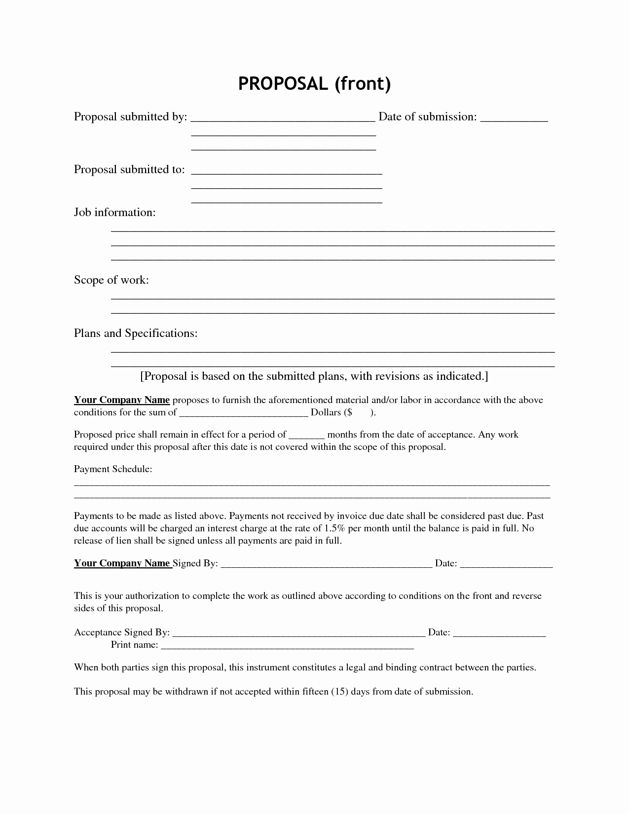 Construction Job Proposal Template Inspirational Best S Of Job Bid Template Free Job Proposal form