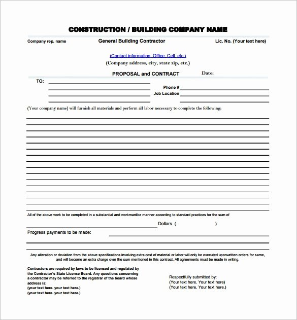 Construction Job Proposal Template Lovely Construction Proposal Template