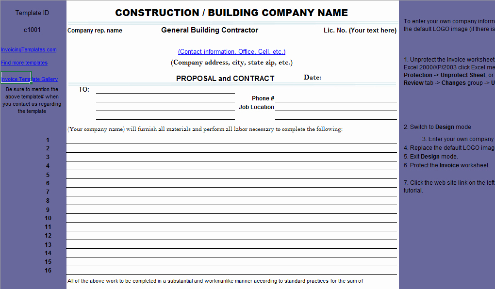 Construction Job Proposal Template New Construction Proposal Template
