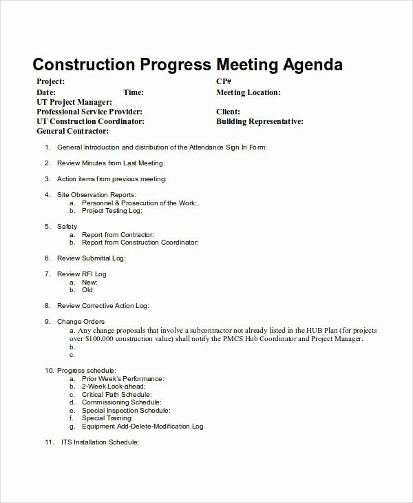 Construction Meeting Minutes Template Awesome 10 Meeting Agenda Samples Free Sample Example format
