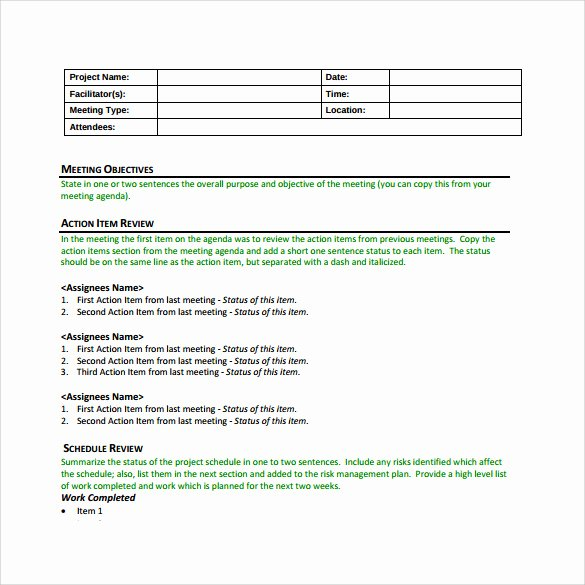 Construction Meeting Minutes Template Awesome Sample Project Meeting Minutes Template 13 Documents In