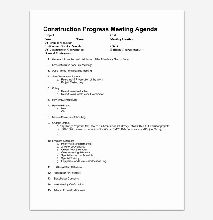 Construction Meeting Minutes Template Elegant Construction Meeting Agenda Template for Word Pdf format