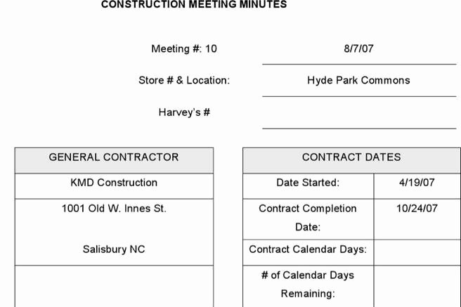 Construction Meeting Minutes Template Luxury 2 Meeting Minute Templates Free Download