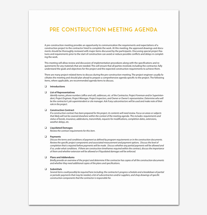 Construction Meeting Minutes Template Luxury Construction Meeting Agenda Template for Word Pdf format