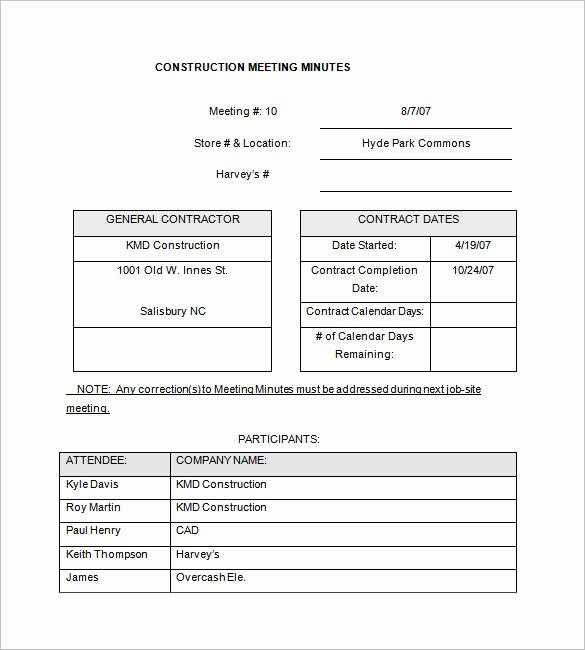 Construction Meeting Minutes Template New 14 Project Meeting Minutes Template Google Docs Word