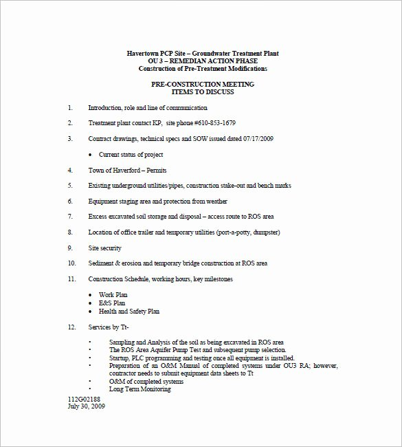 Construction Progress Meeting Agenda Fresh 7 Construction Meeting Minutes Templates Doc Pdf