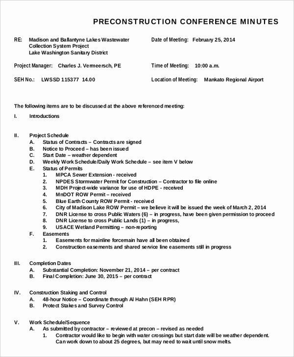 Construction Progress Meeting Agenda Fresh Meeting Minutes Templates – 22 Free Word Pdf Documents