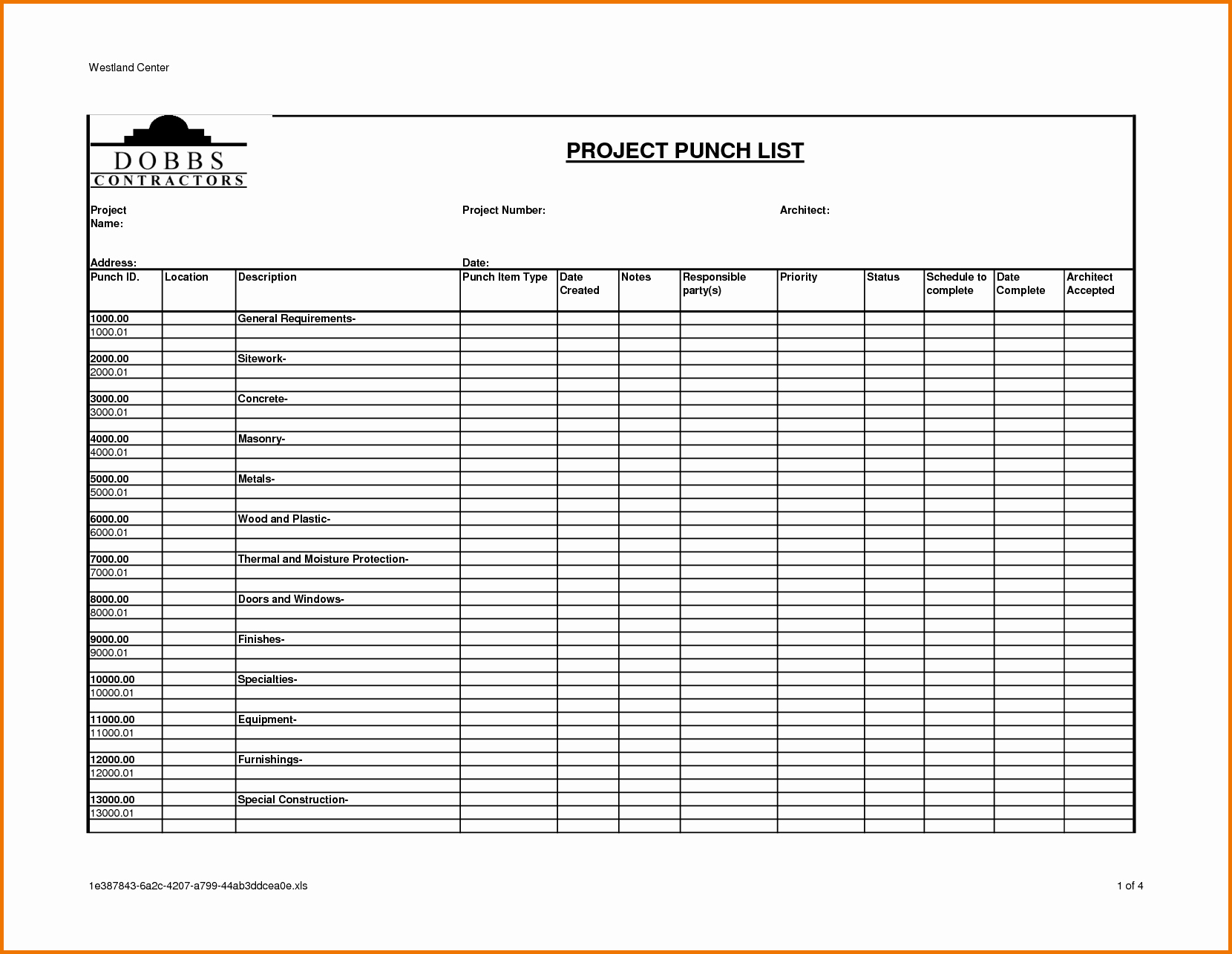 Construction Project Closeout Template Inspirational Construction Project Punch List Template