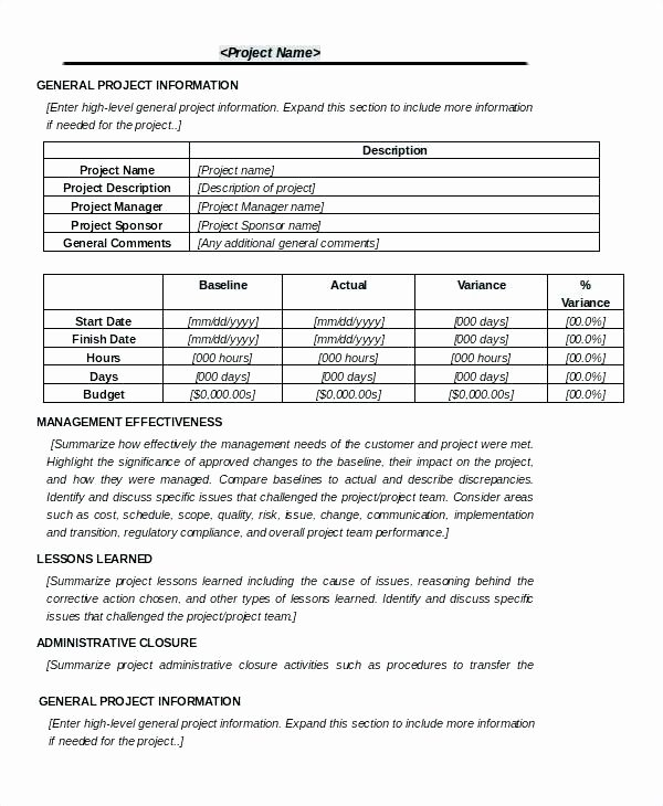 Construction Project Closeout Template Lovely It Project Documentation Template