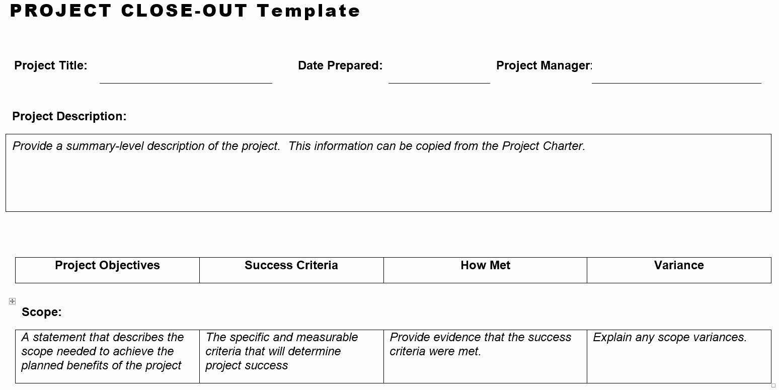 Construction Project Closeout Template Lovely Project Close Out Template