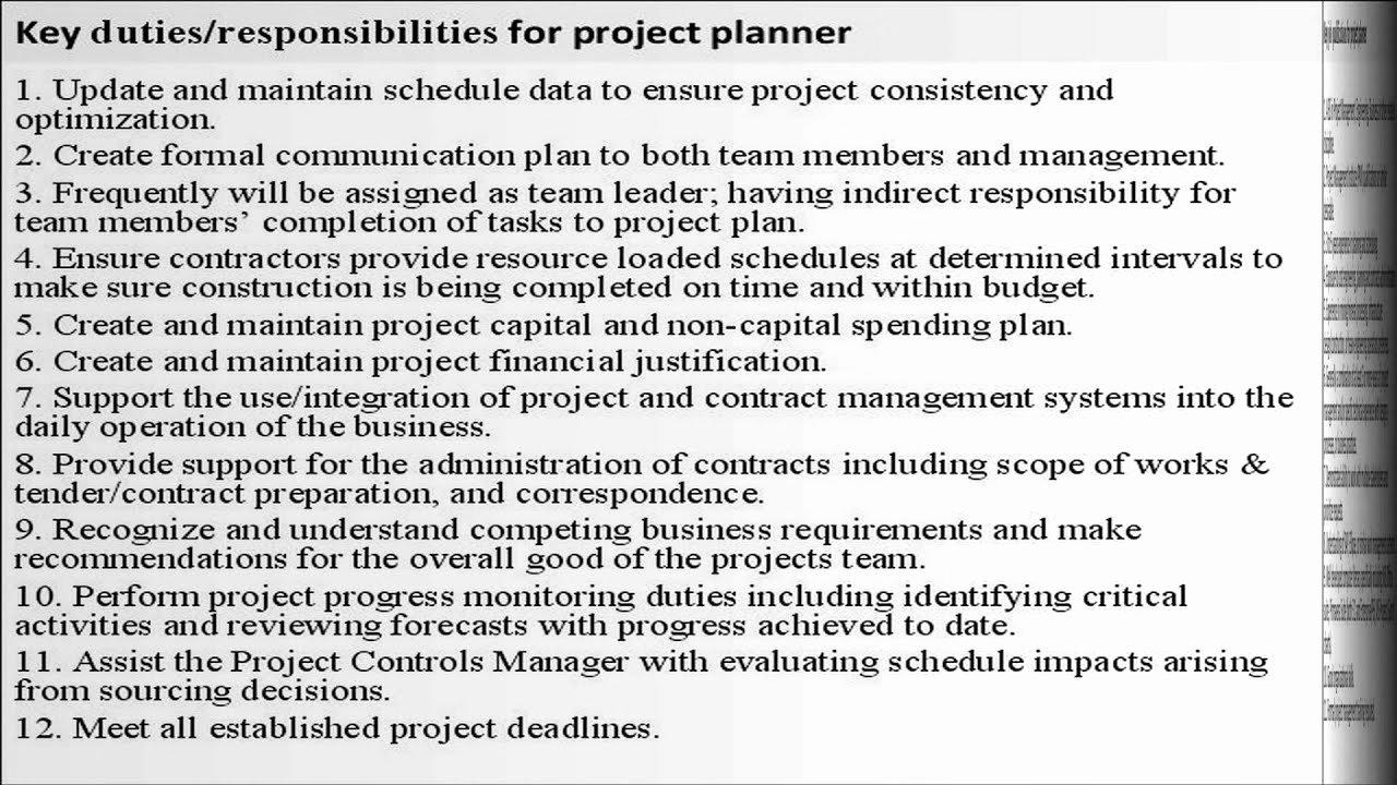 Construction Project Description Awesome Project Planner Job Description