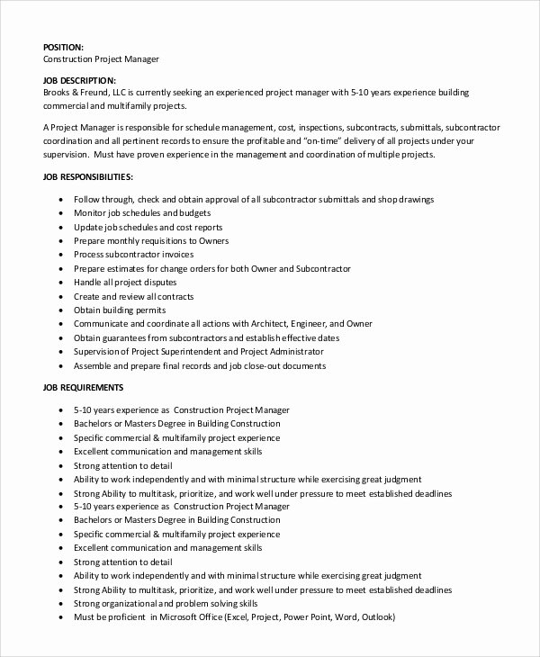 Construction Project Description Beautiful Duties Of Project Manager In Construction Pdf Archives