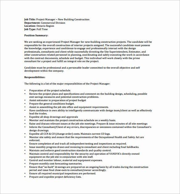 Construction Project Description Fresh 9 Project Manager Job Description Templates