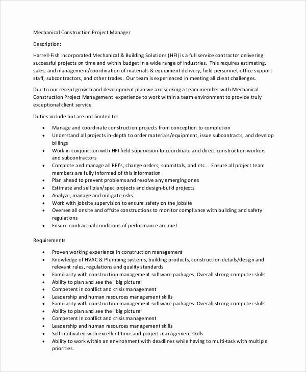Construction Project Description Inspirational 8 Construction Project Manager Job Description Samples