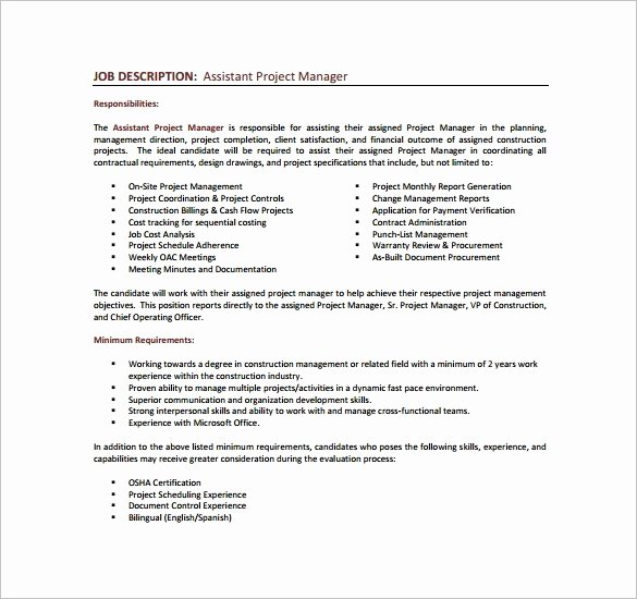 Construction Project Description Lovely Construction Project Manager Job Description