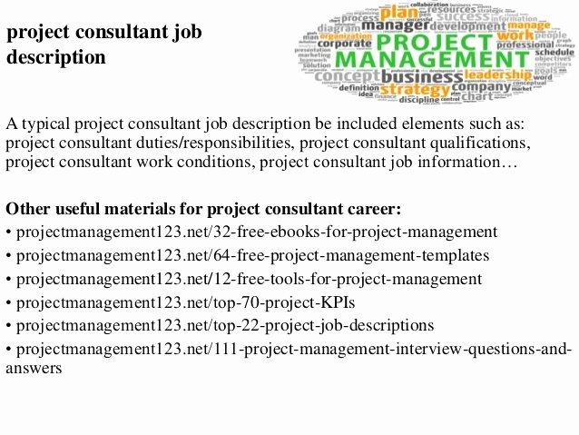 Construction Project Description Lovely Project Consultant Job Description