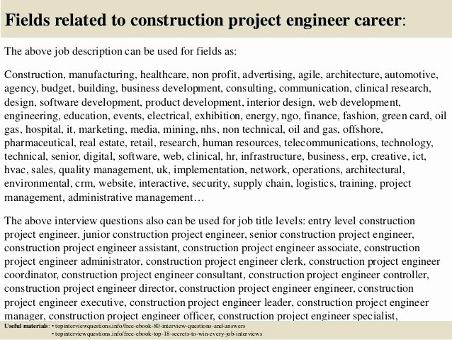 Construction Project Description Luxury top 10 Construction Project Engineer Interview Questions