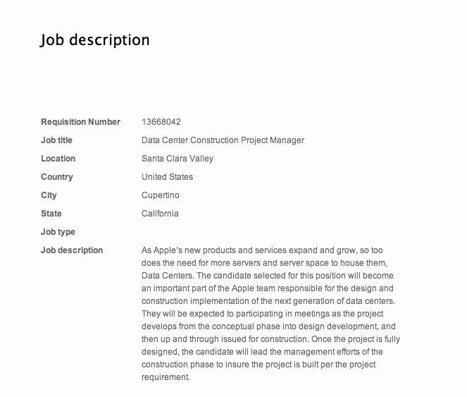 Construction Project Description New Data Center Construction Project Manager Job Description