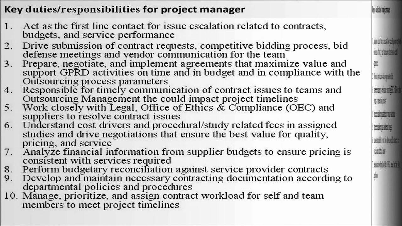 Construction Project Description New Project Manager Job Description
