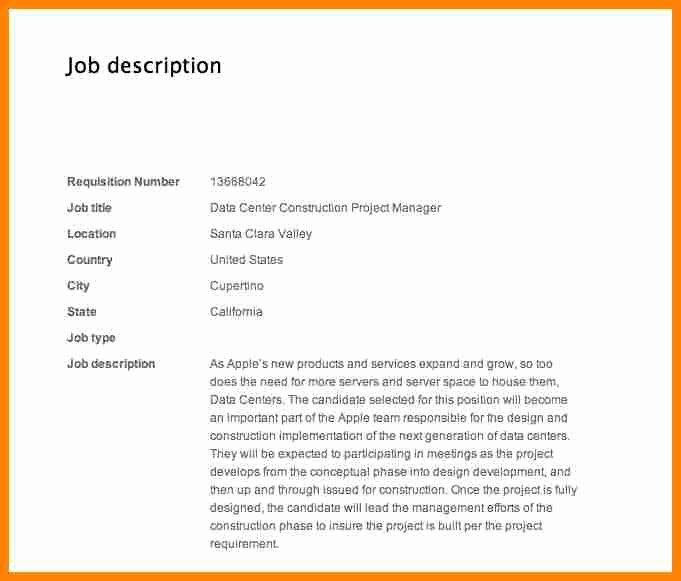 Construction Project Description Unique 8 Construction Project Manager Job Description