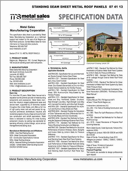 Construction Spec Sheet Template Fresh Metal Sales Products for the Metal Building Industry