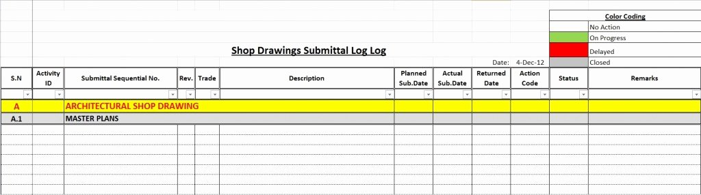 Construction Submittal form Template Best Of How to Create A Shop Drawings Log with Sample File