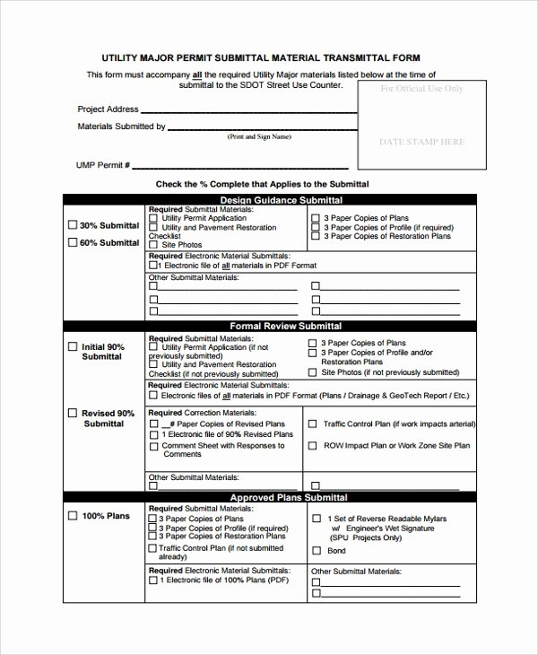 Construction Submittal form Template Inspirational Transmittal form