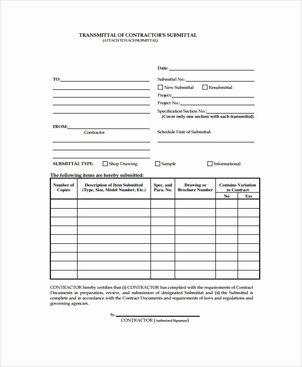Construction Transmittal form Elegant Construction Submittal Cover Sheet Template