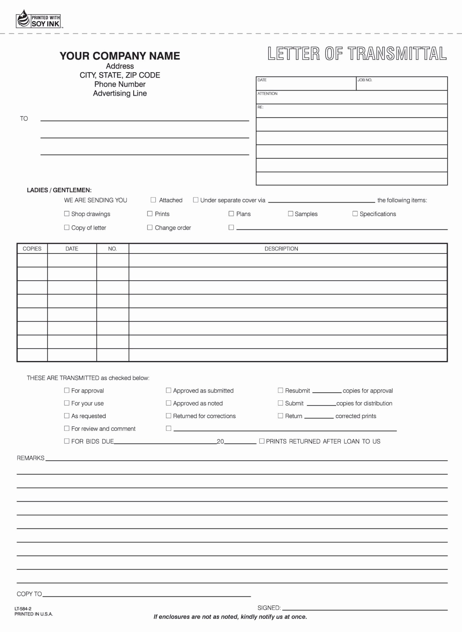 Construction Transmittal form Template Elegant 2 Part Contractor Service Letter Of Transmittal form
