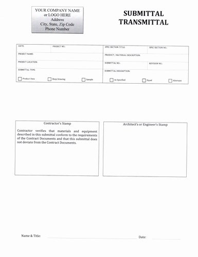 Construction Transmittal form Template Fresh Submittal Transmittal form $5 99 Download now