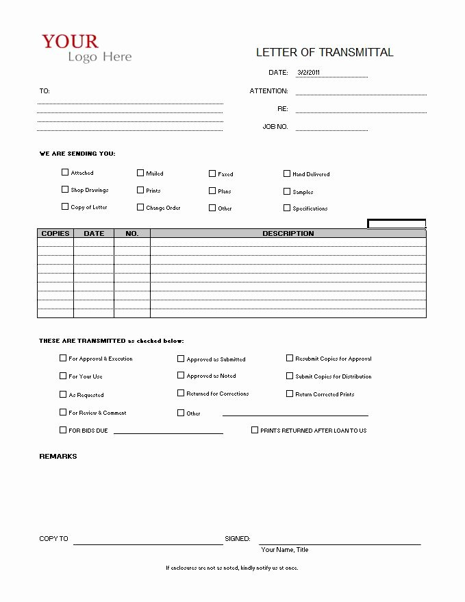 Construction Transmittal form Template New Transmittal form Cms