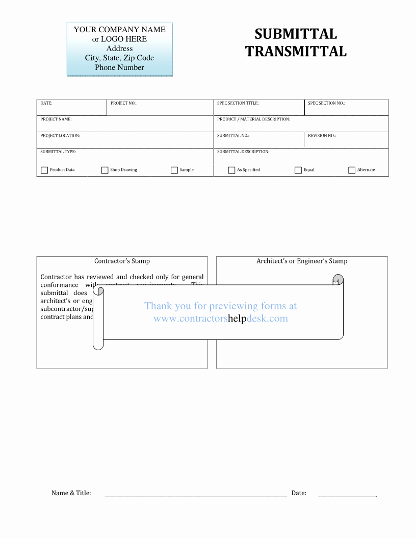 Construction Transmittal Template Inspirational Contractors Help Desk forms