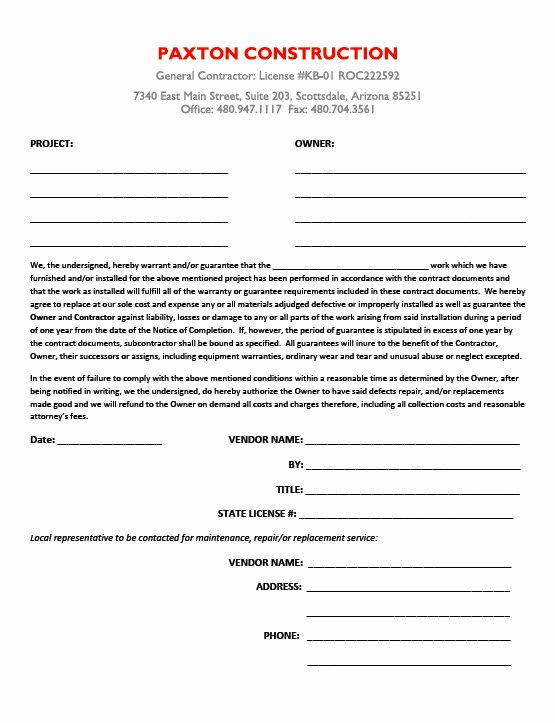 Construction Warranty Template Awesome Subcontractor Guarantee Letter Paxton Construction