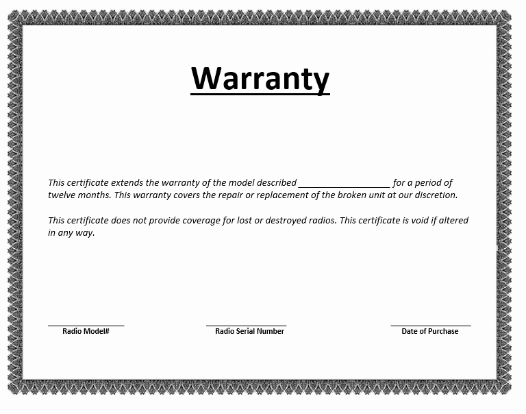 Construction Warranty Template Awesome Warranty Certificate Template – Microsoft Word Templates