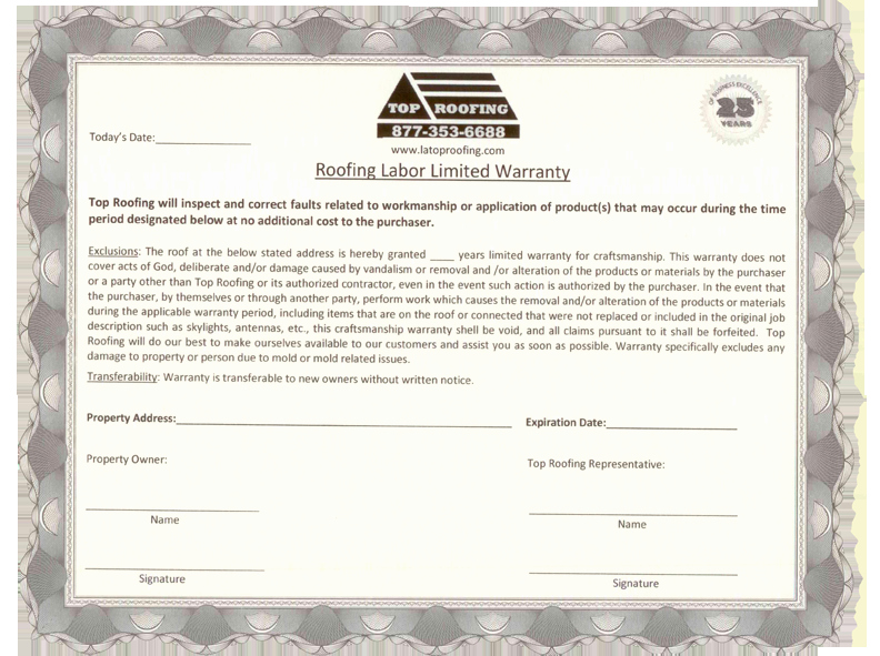 Construction Warranty Template Beautiful Roofing Certificate & Safety Training Certificate