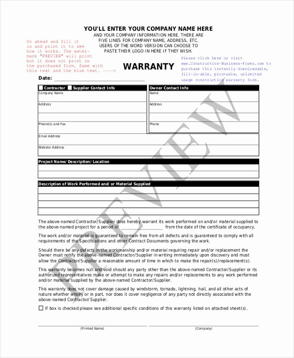 Construction Warranty Template Best Of Sample Construction form 21 Free Documents In Word Pdf