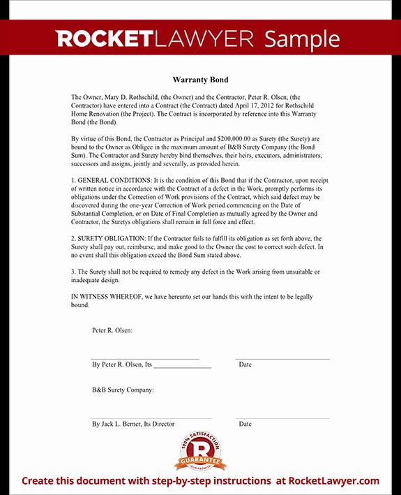 Construction Warranty Template Best Of Warranty Bond form